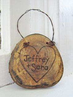 Custom Tree Branch Wood ornament with heart and by averyrayne, $16.00