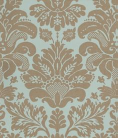 Campbell Damask (NCW4025-01) - Nina Campbell Wallpapers - A classic damask with a modern mid-scale interpretation.  Shown here in pale platinum metallic on a matt light blue. Please ask for sample for true colour match.