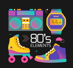 Free Graphics to Revive the Good Old Days - MonsterPost Retro Roller Skates, 80s Design, 80s Theme, Diy Friendship Bracelets Patterns, 80s Aesthetic, Retro Font, 80s Kids, The Good Old Days, Vaporwave