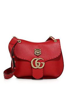Gucci GG Marmont Medium Leather Shoulder Bag - Vulcanic Red
