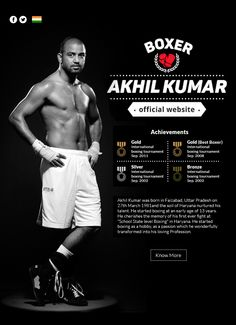 Crafted official website for Akhil Kumar, Indian boxer who has won several international and national boxing awards.