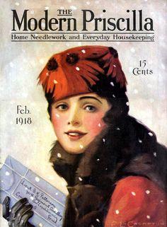 Edna L. Crompton (Artist) : Cover of the February 1918 issue of Modern Priscilla