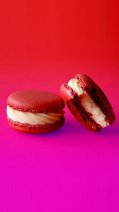 Red Velvet Macaron cookies with a fluffy cream cheese centre