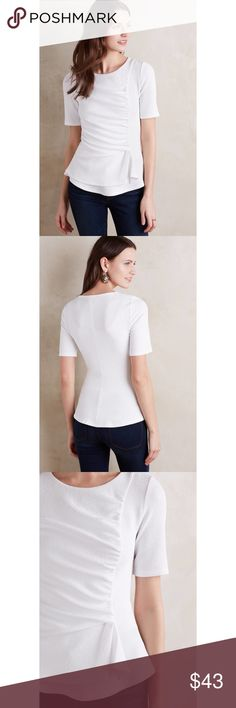 """Anthro Ripple Front Top Crisp white fitted top by Deletta. The fabric is a textured blend of polyester and spandex with rayon lining. Very stretchy and the ruched detail in front makes for a really flattering fit. The bust is 14.5"""", the length is 22"""", and the waist is approximately 13"""" (hard to get an exact measurement due to the ruching). Machine washable and pullover styling. Anthropologie Tops"""