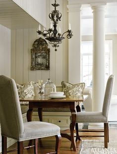 dining room chairs chandelier column - nice mix of things here