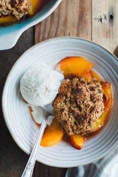 Gluten-free Peach Cobbler with Brown Butter Chestnut Biscuits | Snixy Kitchen