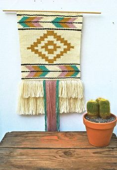 Highland chevron wall hanging woven with tassel - wall hanging weave, wall hanging yarn Navajo Weaving, Weaving Art, Tapestry Weaving, Loom Weaving, Hand Weaving, Weaving Wall Hanging, Wall Hangings, Art Fil, Weaving Textiles