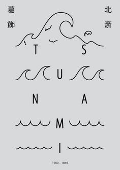 tsunami, poster, layout, minimal, waves, typography, linear