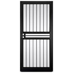 unique home designs 36 in x 80 in guardian black surface mount outswing steel security door with shatter resistant glass - Window For Home Design