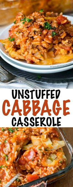 Unstuffed cabbage casserole is the perfect way to enjoy lazy cabbage rolls! Ground beef, pork & rice with a cabbage layer in a rich tomato sauce.