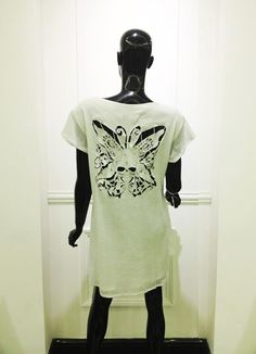 Shift dress with skull and butterfly embroidered cut off by Mel Achyar