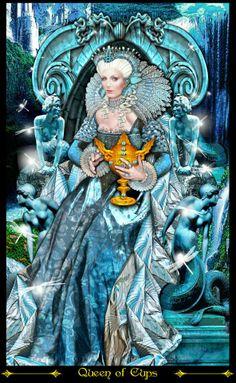 Koningin van Bokalen uit de Tarot Illuminati van Erik Dunne. Prachtig!