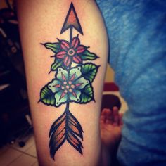 Arrow and roses by Jessi @ Rumi Tattoo in Philadelphia, PA Rumi Tattoo has since closed, but you can find her at No Ka Oi, also in Philly.
