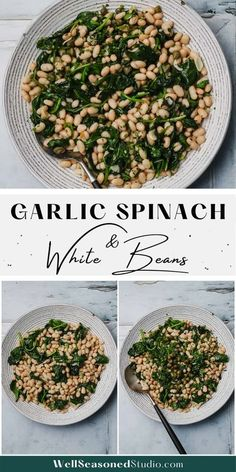 Sautéed spinach is seasoned with garlic and small canned white beans, then flavored with fresh lemon juice and finely chopped herbs and capers. A vegetable side that is filling and flavorful! #Whole30 #garllicbeans #spinach #whitebeans #dinner #side #wellseasonedstudio #delicious @wellseasonedstudio | wellseasonedstudio.com Garlic Spinach, Sauteed Spinach, Mexican Side Dishes, Healthy Side Dishes, Side Recipes, Veggie Recipes, White Bean Recipes, Great Northern Beans, Well Seasoned