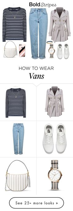 """""""Big, Bold Stripes"""" by elisabetta-negro on Polyvore featuring Maison Scotch, Topshop, WithChic, Vans, Casetify, MICHAEL Michael Kors, FOSSIL, Charter Club and BoldStripes"""
