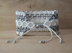 fashion macrame bracelet gray cuff micro macrame beaded