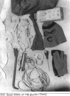 Items found in Ted Bundy's car after a 1975 arrest.