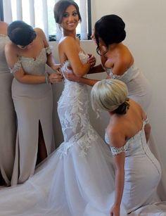Lace Bridesmaid Dress,Long Bridesma