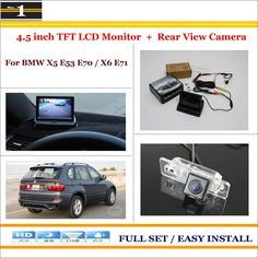 """For BMW X5 E53 E70 / X6 E71 - Car Reverse Rear Camera + 4.3"""" TFT LCD Monitor = 2 in 1 Parking System"""