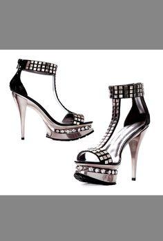 Tyara | Spurst.com #sexy #dance #dancer #dancewear #dancershoes #danceshoes #spurst #rhinestoneshoes #5inch #metallic #metallicheel #heels #studs #studded #shoes #style #trends