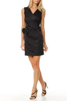 Ruched Cross Front Cocktail Dress