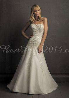 tulle a-line strapless with applique floor-length chapel train wedding dress - Bestdress2014.com