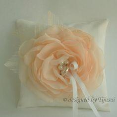 peach organza flower
