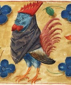 Rooster and mans head