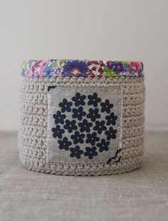 crochet and fabric basket in blue/purple