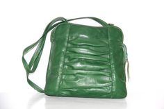 Vintage Green Leather Bag ///  Unique Green by OtisAndTheGirl, $40.00 Green Leather, Leather Bag, Vintage Green, Vintage Jewelry, My Etsy Shop, Backpacks, Unique, Bags, Collection
