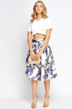 High Waisted Printed Midi Skater Skirt