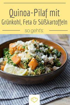 Was für ein leckeres Quinoa-Rezept - Quinoa-Pilaf mit Grünkohl, Feta & Süßkartoffeln.