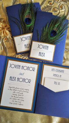 Peacock Wedding Invitations & RSVP Cards |  #etsy #feather #gatsby #gold #idobliss #invitations #invites #peacock #peacockblue #pocketfold #rsvpcards #wedding | peacock wedding invitations and rsvp cards by i do bliss