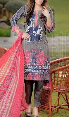 Buy Grey Embroidered Cotton Lawn Dress by Combinations 2016 Muslim Women Fashion, Indian Fashion, Womens Fashion, Desi Clothes, Asian Clothes, Beautiful Pakistani Dresses, Beautiful Dresses, Buy Salwar Kameez Online, Mix Style