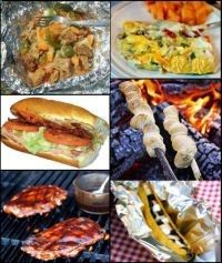 Outdoor camping meals and recipes complete with lists for: Cookware and equipment, chuck box supplies, camp food groceries lists for one to six campers, recipes and prep instructions, and camping notes and tips. - Rugged Thug