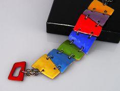 Enameled Trapezoid Bracelet Rainbow Color by kimberlybelldesigns, $150.00