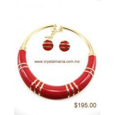 Set de collar y aretes en tono dorada con rojo estilo 30193