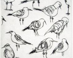Wye River Seagulls Dry Point Etching, c2012, Bridget Farmer, dry point etching on copper plate, Hahnemuhle cotton rag paper, image 4 x 5 3/4 in., paper size 7 1/4 x 10 in., edition 18, Daylesford, Australia.
