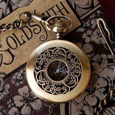 Brass Mechanical Pocket Watch Necklace 5. $42.00, via Etsy.