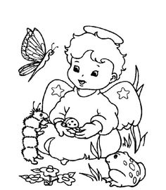 cute little christmas angel with animals coloring pages - Crocodile Coloring Pages Kids