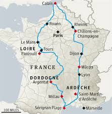 This is a travel route that a family took while on vacation in France. The did a great amount of traveling. http://www.theguardian.com/travel/2013/mar/08/france-road-trip-family-holiday