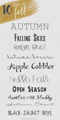 10 Free Fonts for Fall - Fonts - Ideas of Fonts - You will love these must-have 10 Free Fonts for fall. They are fresh and inspiring and the best part is that they are free to use. Fall Fonts, Cricut Fonts, Free Fonts For Cricut, Handwriting Fonts, Handwriting Styles, Penmanship, Cute Fonts, Typography Fonts, Typography Design