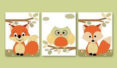 Kids wall art Owl Nursery Fox Nursery Squirrel Nursery Baby Girl Nursery Art Kids Art Baby Room Decor Nursery Print set of 3 11x14 orange on Etsy, $60.00