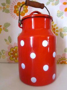 Vintage polka dot urn