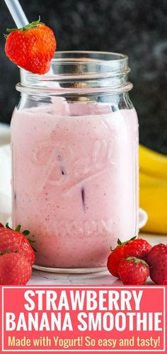 This Strawberry Banana Yogurt Smoothie is so creamy, thick, and delicious! A filling frozen fruit smoothie that tastes great for breakfast but also makes a tasty and healthy snack. Strawberry Banana Yogurt Smoothie, Frozen Fruit Smoothie, Smoothie Recipes With Yogurt, Healthy Fruit Smoothies, Yogurt Recipes, Fruit Snacks, Strawberry Recipes, Fruit Recipes, Fruit Drinks