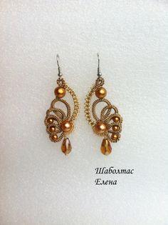 """Items similar to Earrings """"Little Wings"""" on Etsy Tatting Earrings, Tatting Jewelry, Thread Jewellery, Macrame Earrings, Lace Jewelry, Tatting Lace, Macrame Jewelry, Jewelery, Etsy Earrings"""