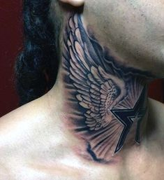 Mens Wing Tattoo On Upper Neck Wings Neck Tattoo, Side Neck Tattoo, Wing Tattoo Men, Throat Tattoo, Neck Tattoo For Guys, Wing Tattoo Designs, Tattoo Sleeve Designs, Tattoos For Guys, Sleeve Tattoos