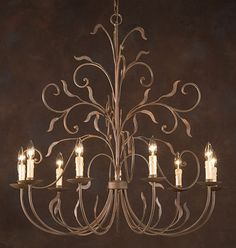Wrought iron chandelier.