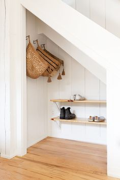 37 Attractive Hallway Under Stairs Design Ideas With Storage To Have - Many of us live in houses that have an open area underneath the stairs. This often gets used for shoes or bags or maybe, if there is enough height, fo. Staircase Storage, Hallway Storage, Storage Spaces, Under Stair Storage, Storage Ideas, Shoe Storage Under Stairs Cupboard, Under Stairs Nook, Closet Under Stairs, Under Staircase Ideas