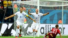 Clint Dempsey of the United States celebrates scoring his team's second goal during the 2014 FIFA World Cup Brazil
